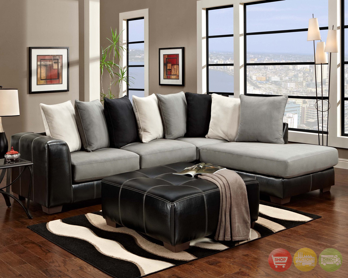 Gray And White Sofa Idol Steel Black Gray And White Sectional Sofa Loose Pillow Back