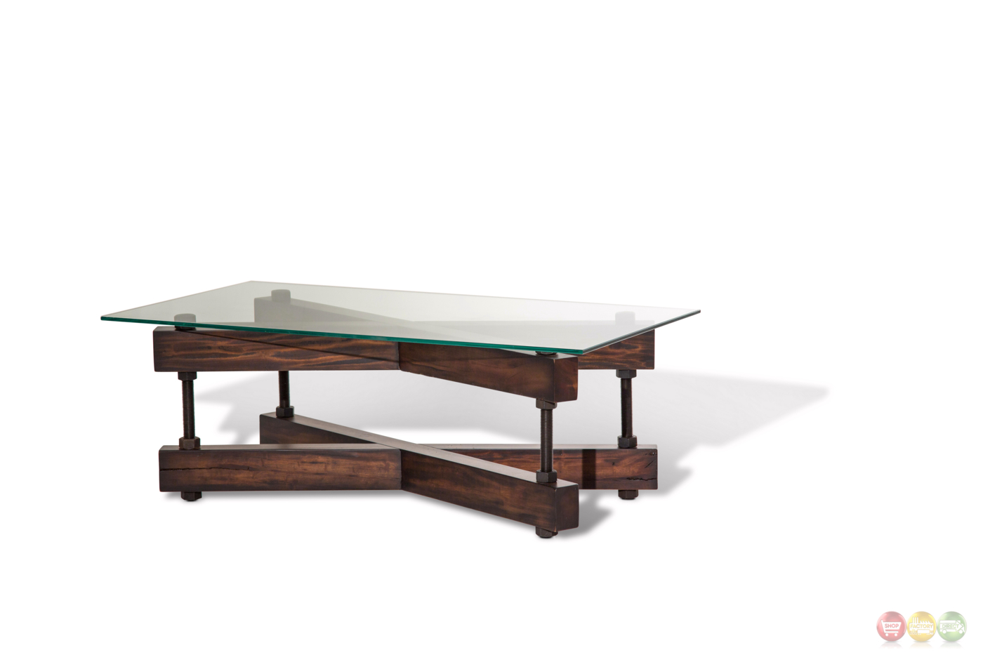 Rustic Wood And Glass Coffee Table Killington Rustic Modern Coffee Table W Glass Top