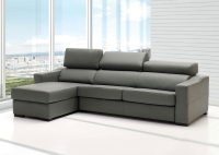 Lucas Grey Leather Sectional Sofa With Sleeper And Storage