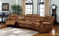 Manchester Caramel Faux Leather Sectional Sofa Set, Cup ...