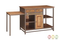 Metal And Wood 2 Drawer Kitchen Island With Pull