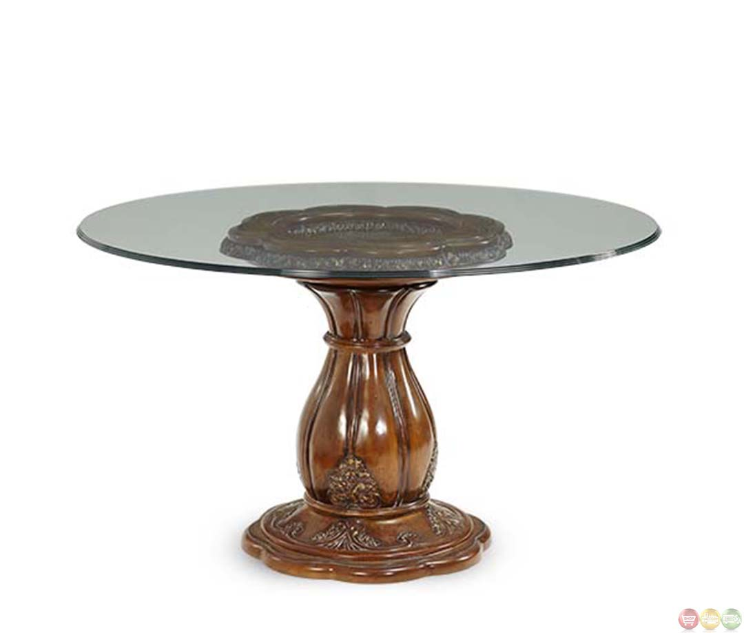 Round Glass Dining Table Michael Amini Lavelle Melange 54 Inch Round Glass Top