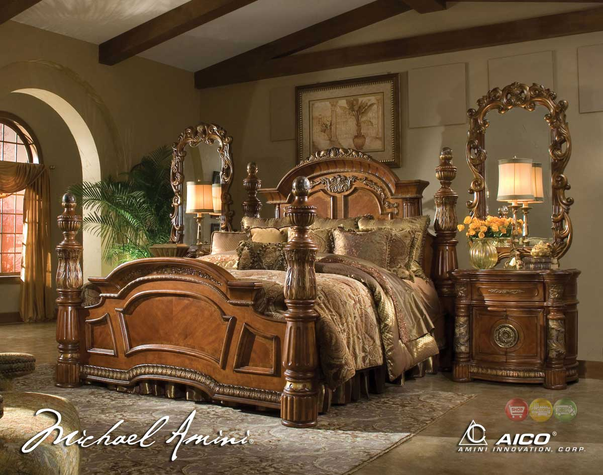 High Poster Bed King Michael Amini Villa Valencia 4 Poster King Bedroom Set