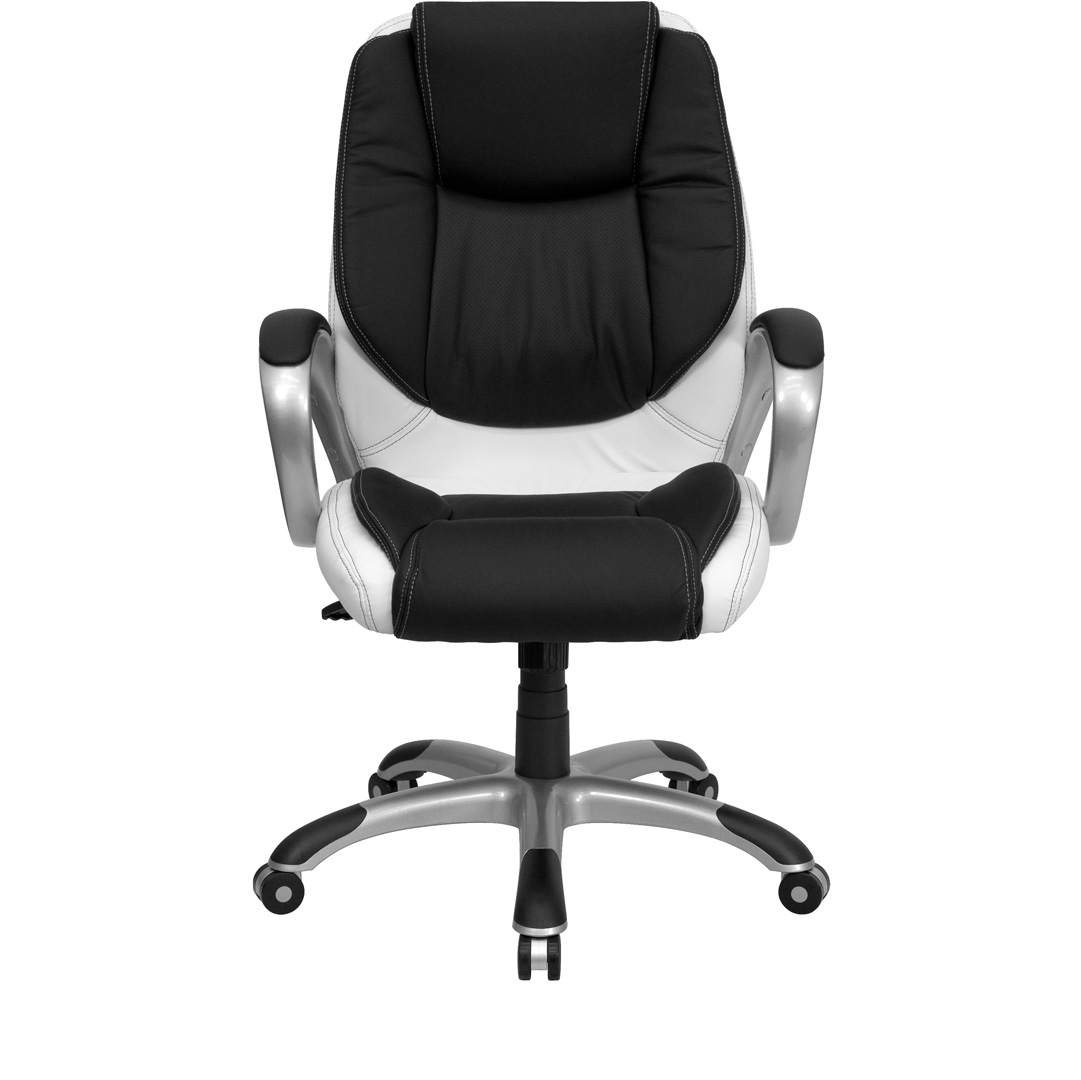 White And Black Office Chair Mid Back Black And White Leather Executive Swivel Office