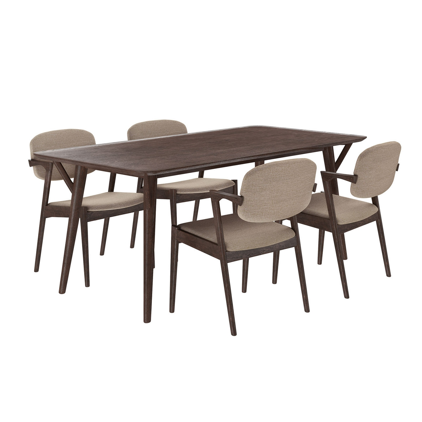 Modern Wooden Dining Room Chairs Mid Century Modern 5pc Wooden Dining Set With Upholstered