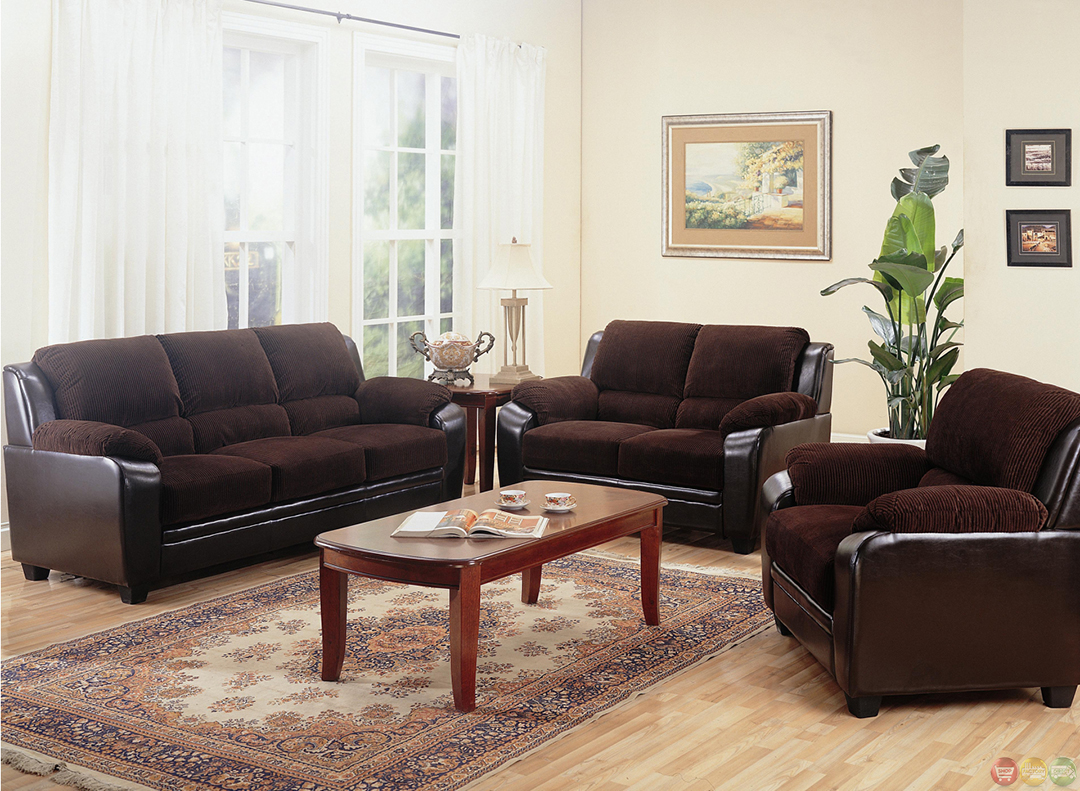 Brown Couches In Living Room Monika Two Toned Dark Brown Corduroy Casual Living Room