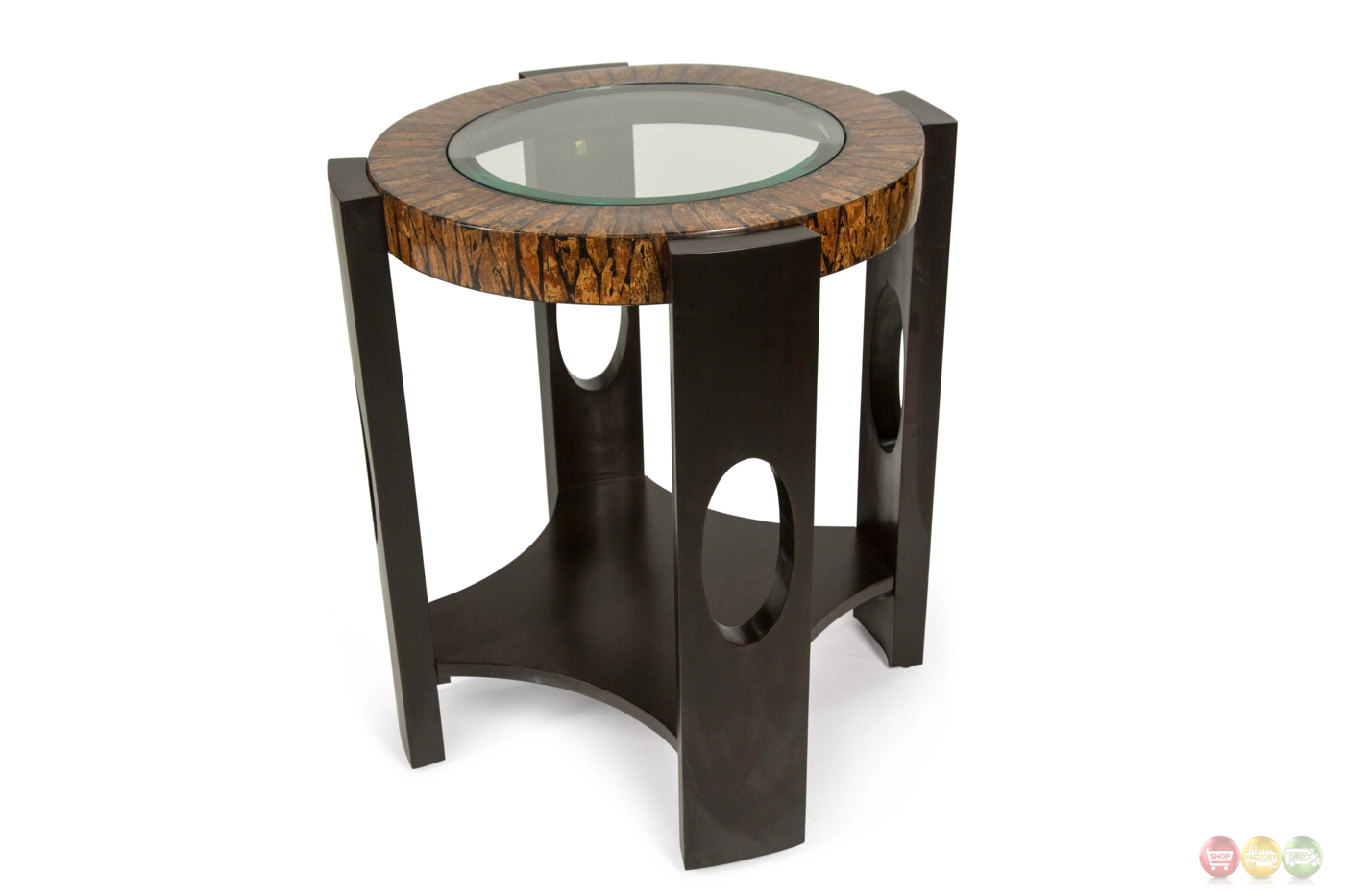 Round Glass Top End Tables Montecristo Transitional Round End Table With Stone And