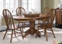 Old World Oak Finish Pedestal Table Casual Dining Set