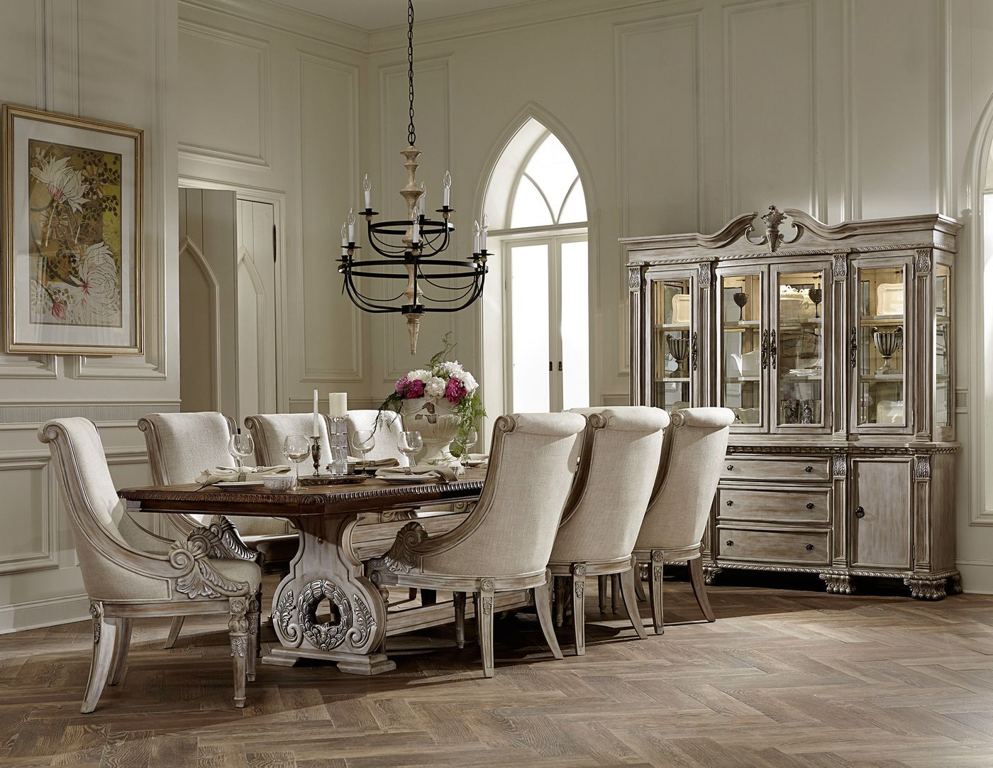 Fancy Dining Room Sets Orleans Ii White Wash Traditional Formal Dining Room
