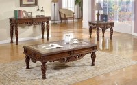 Ornate 3 Piece Living Room Table Set Traditional Style w ...