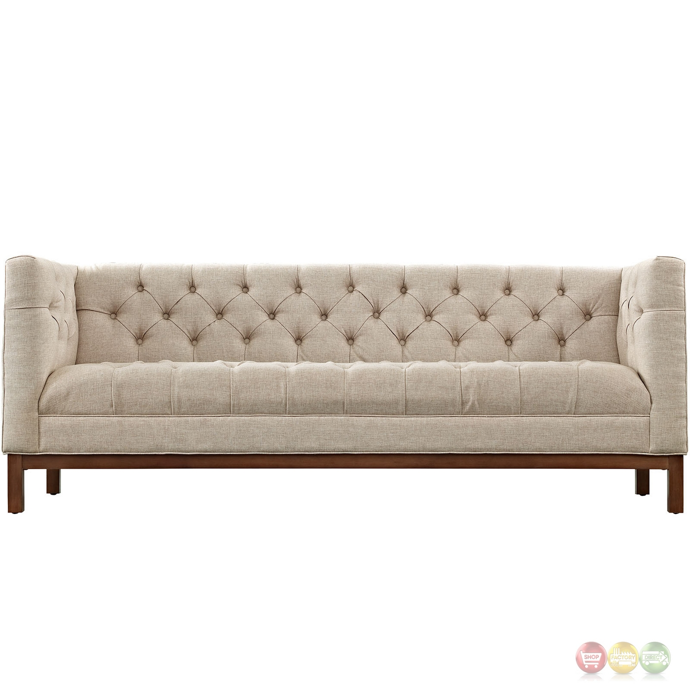 Sofa Beige Panache Vintage Square Button-tufted Upholstered Sofa, Beige