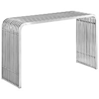 Pipe Modern Curved Edge Slatted Sofa Table In Stainless ...