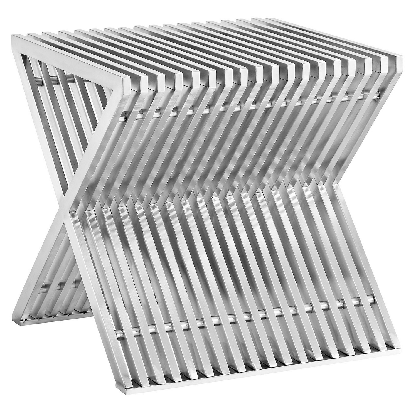 High End Stainless Steel Flatware Press Modern Slatted End Table With Quotx Quot Style Base In