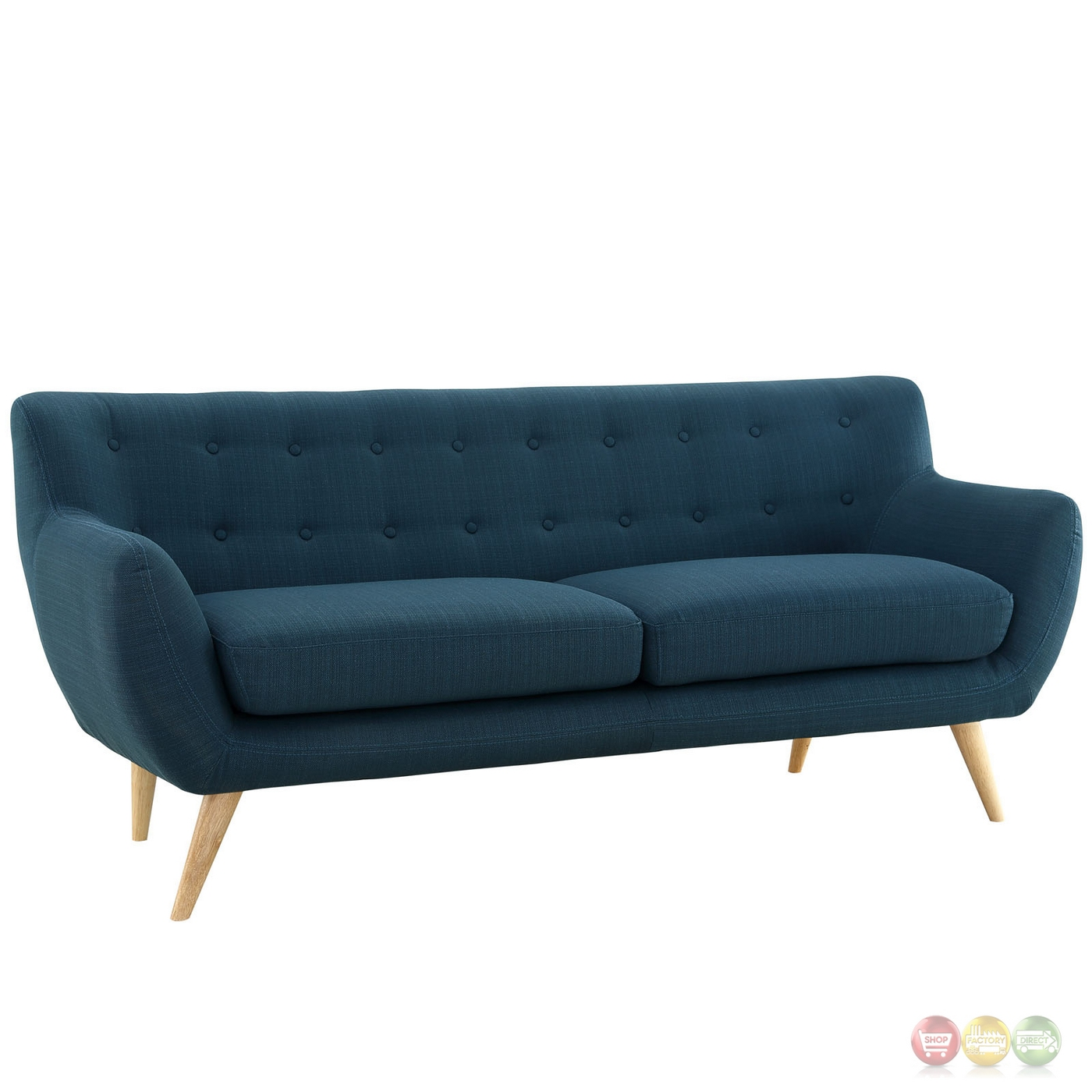 Modern Couch Remark Modern Upholstered Sofa With Button Accents Azure
