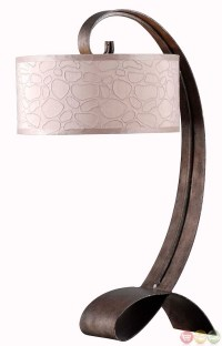Remy Smoked Bronze Retro Pattern Taupe Drum Table Lamp