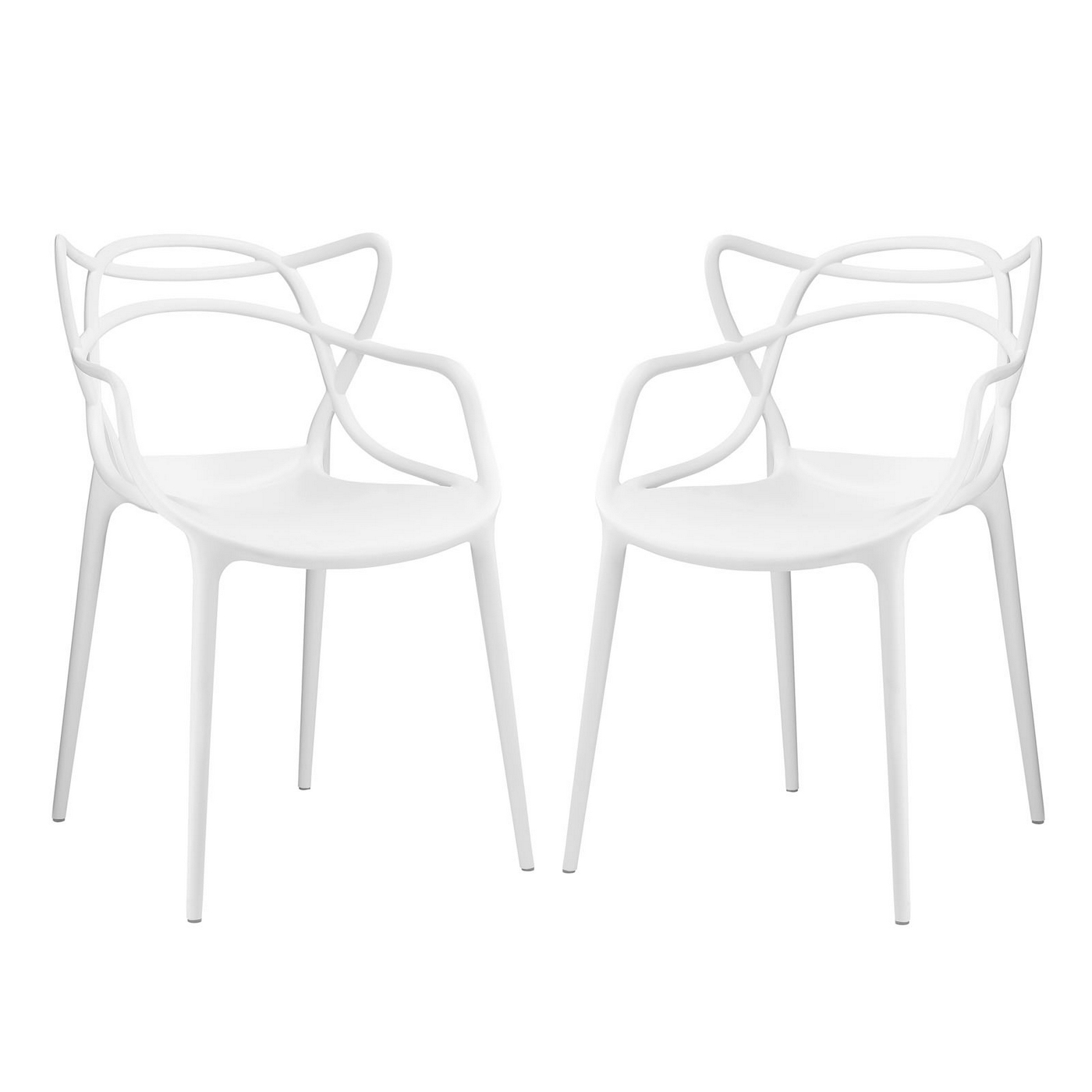 White Plastic Modern Chairs Set Of 2 Entangled Modern Shapely Molded Plastic Dining
