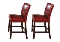 Set Of 2, Hartford Red Leather Upholstered Counter Height ...