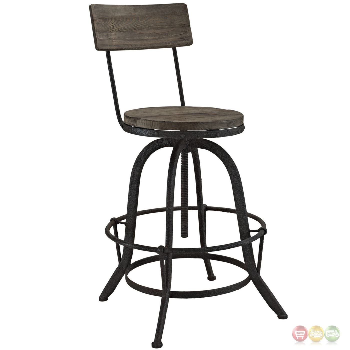 Industrial Bar Stools With Backs Set Of 2 Procure Industrial Bar Stool W Wood Seat Backs