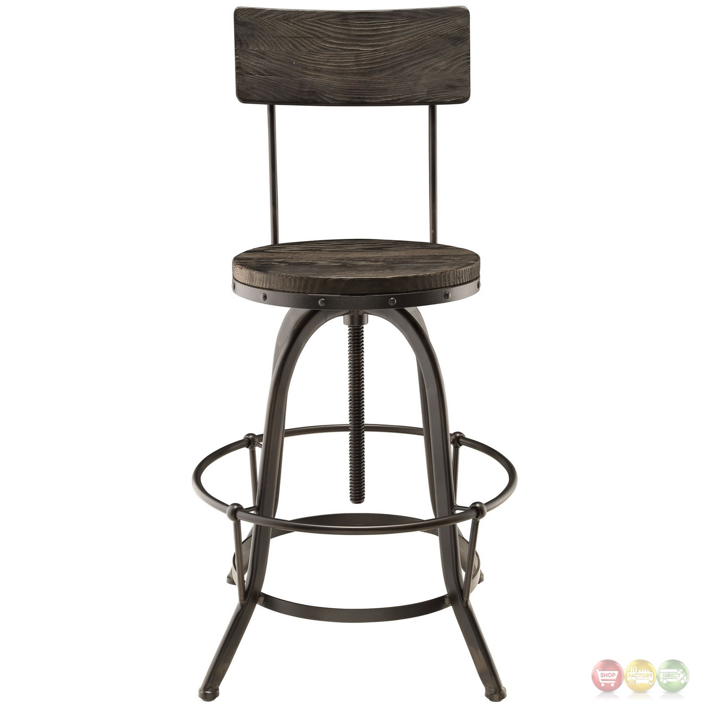 Industrial Bar Stools With Backs Set Of 4 Procure Industrial Bar Stool W Wood Seat Backs