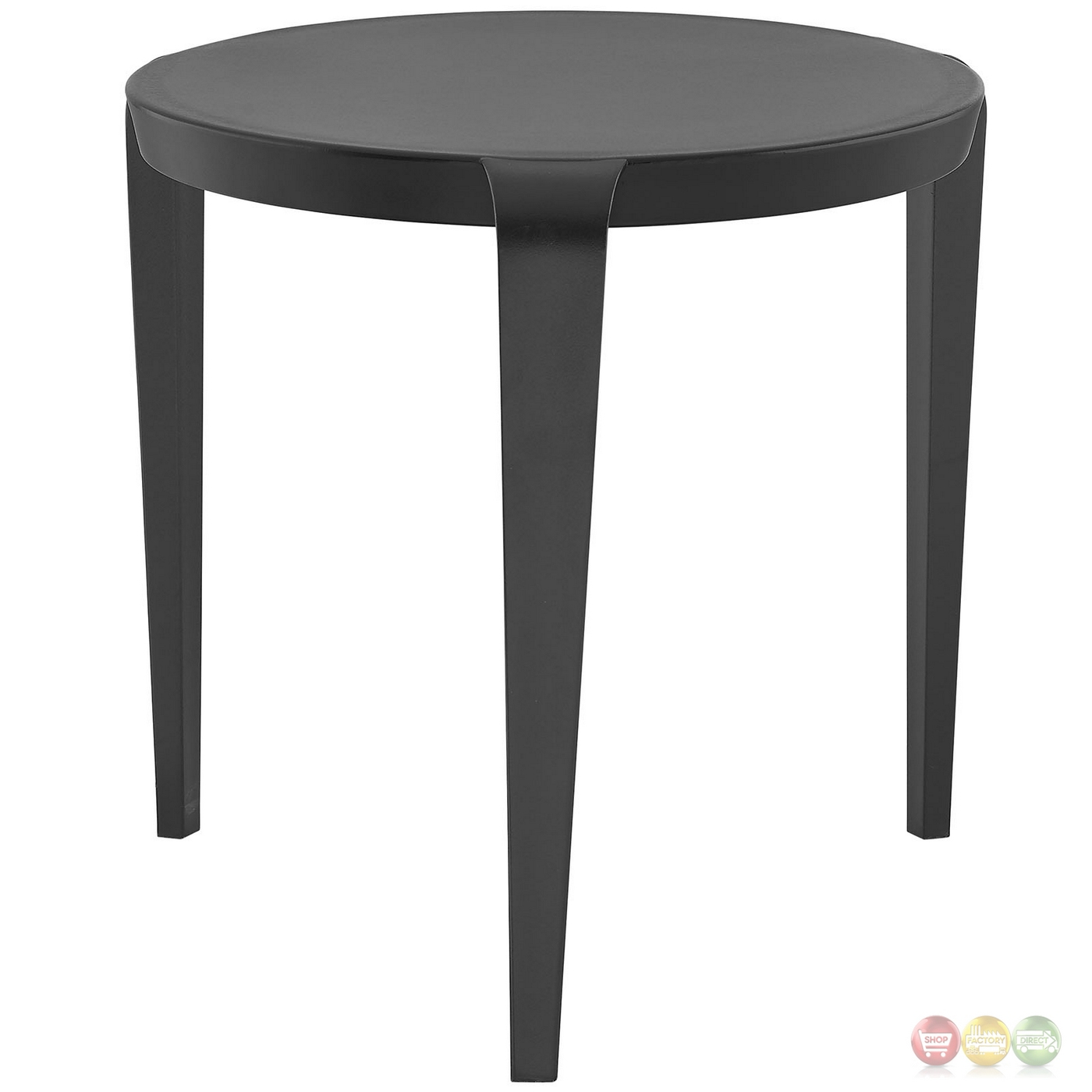 Black Modern Side Table Spin Contemporary 3 Legged Round Plastic Side Table Black