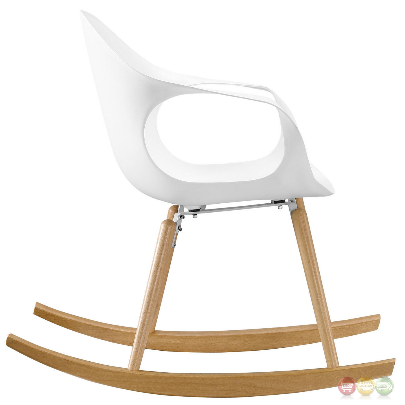 White Plastic Modern Chairs Swerve Modern Molded Plastic Rocking Chair With Solid Wood