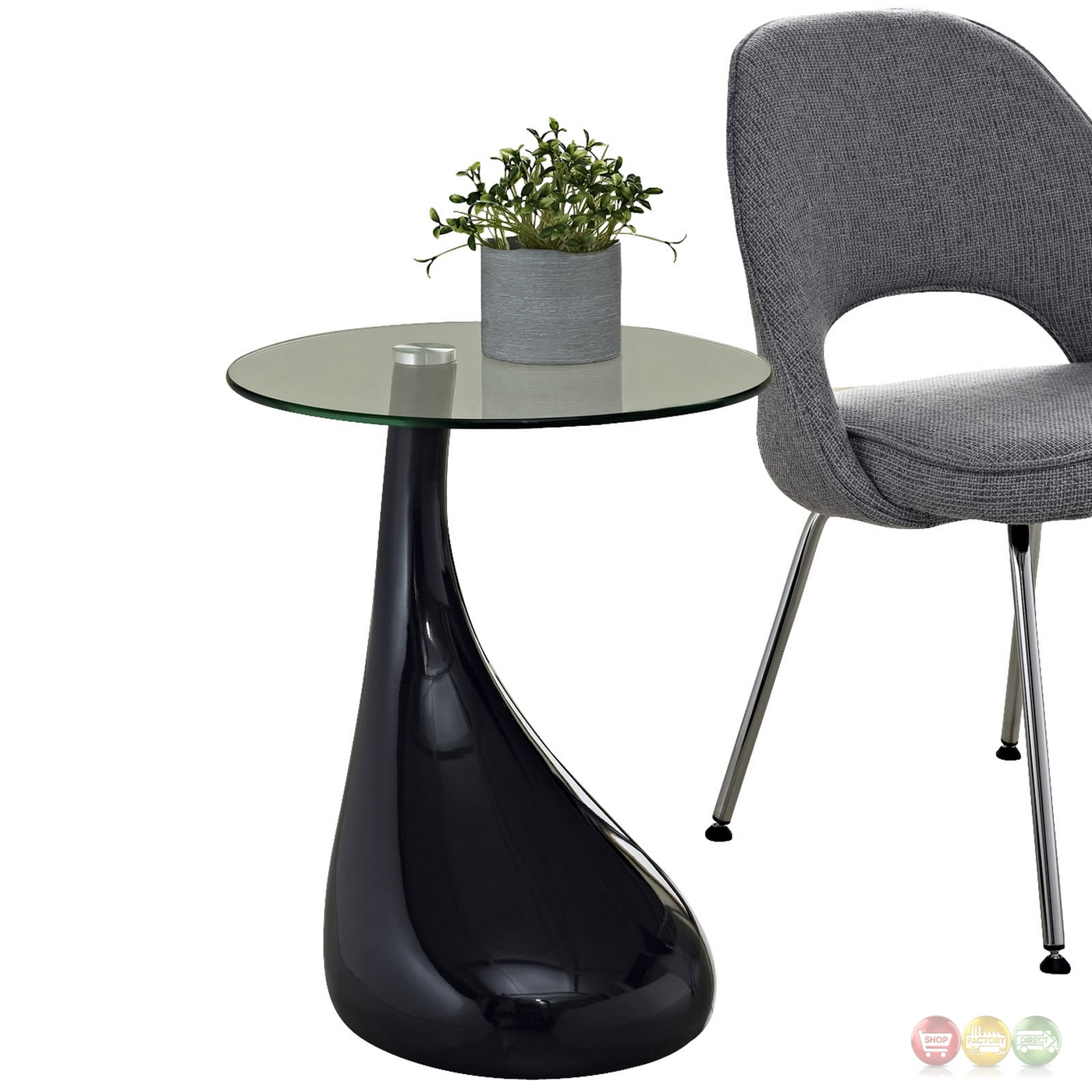 Black Modern Side Table Teardrop Modern Shapely Side Table With Glass Top Black