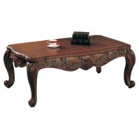 Traditional Elegant Wood Cocktail Coffee Table w/ Cabriole ...