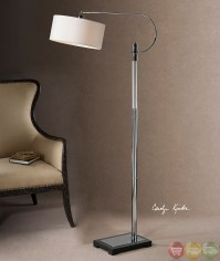 Adara Ribbed Glass & Polished Chrome Drum Shade Floor Lamp