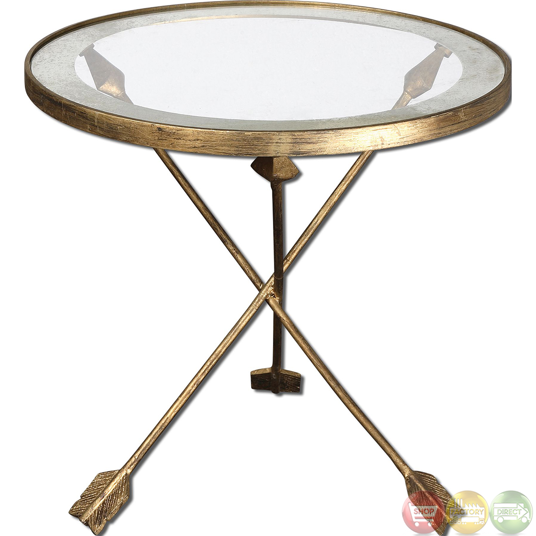 Glass End Table Top Gold Arrow Glass Top Accent End Table 24275