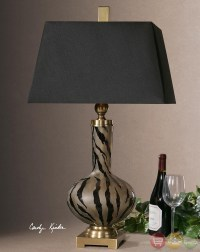 Amur Animal Print Etched Smoked Glass Table Lamp 26293