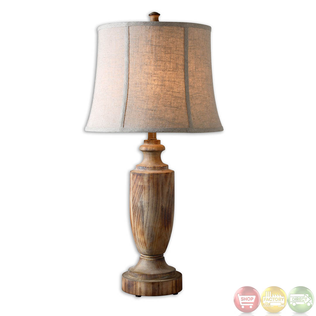 Real Wood Lamps Calvino Light Ash Gray Bleached Solid Wood Table Lamp 27687