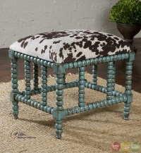Chahna Turquoise Cow Print Western Style Small Bench 23605