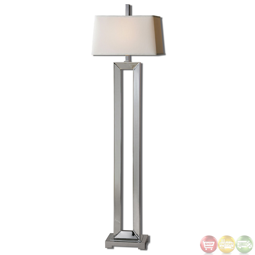 Floor Lamp Metal Coffield Polished Chrome Metal Column Modern Floor Lamp 28595