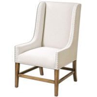 Dalma Neutral Linen Upholstery Wood Frame Wing Back Chair ...