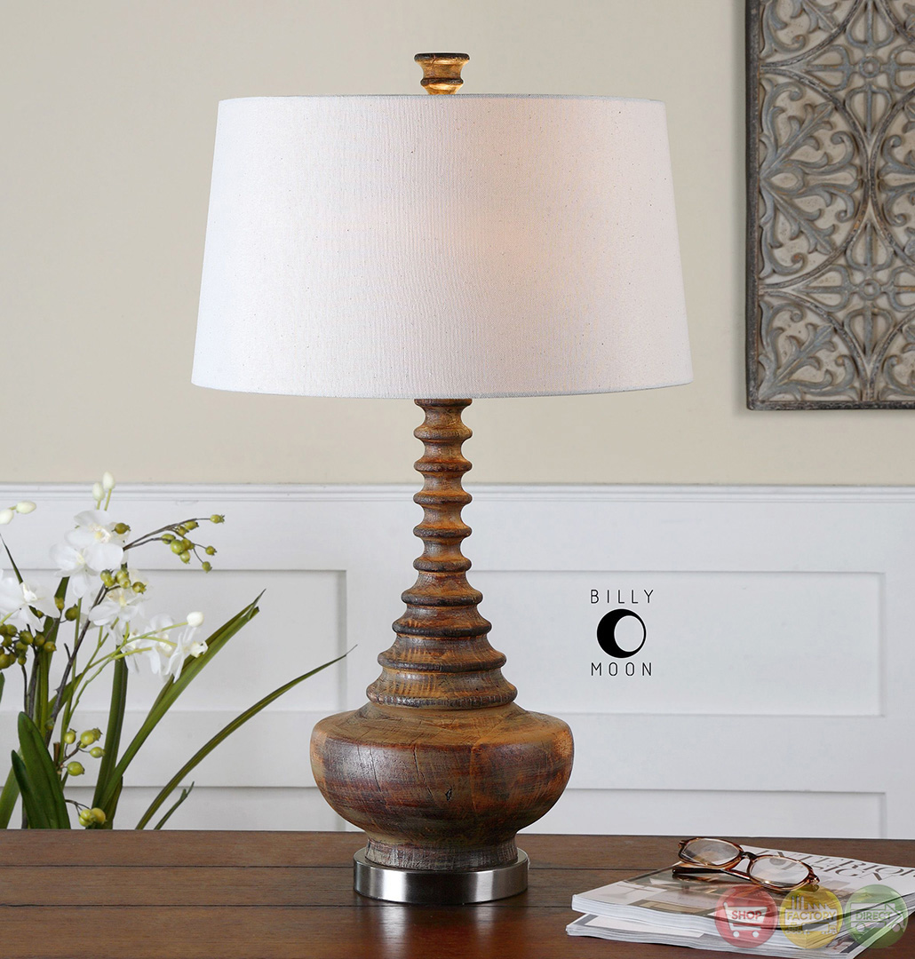 Real Wood Lamps Diega Mahogany Stained Ribbed Solid Wood Table Lamp 26766