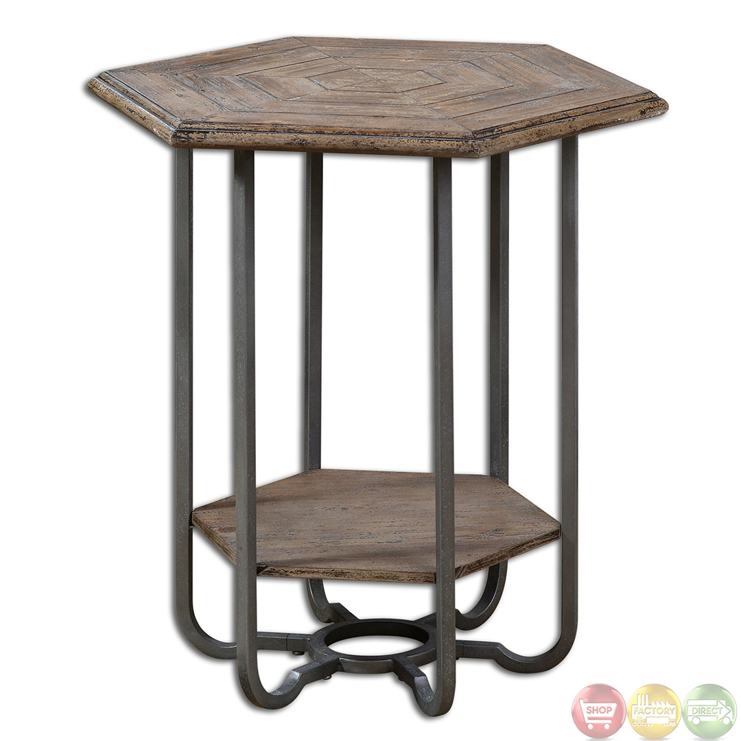Wood And Metal Side Tables Mayson Salvaged Wood Top And Metal Legs Accent Table 24378