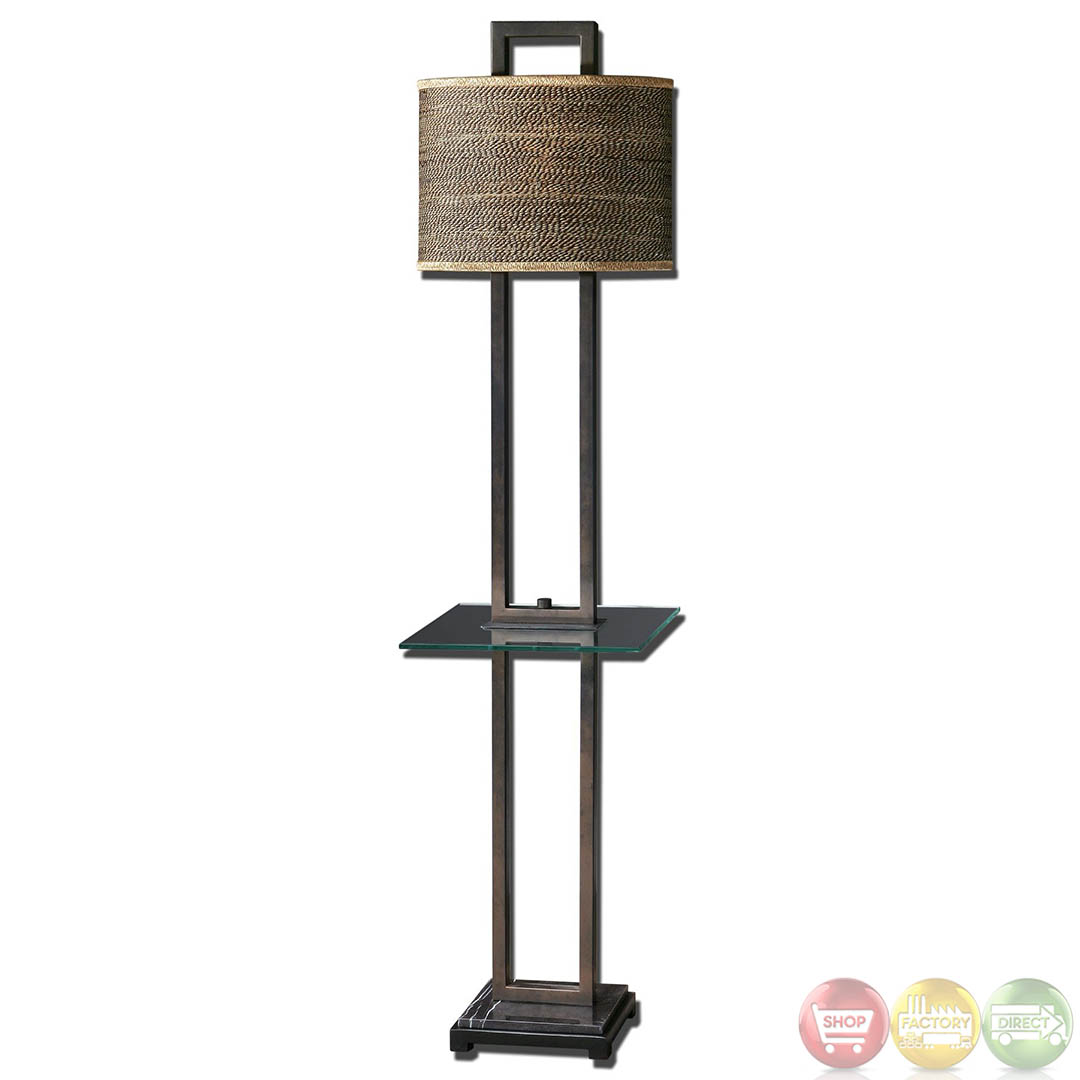 Stabina Rustic Bronze Metal & Oval Drum Shade End Table
