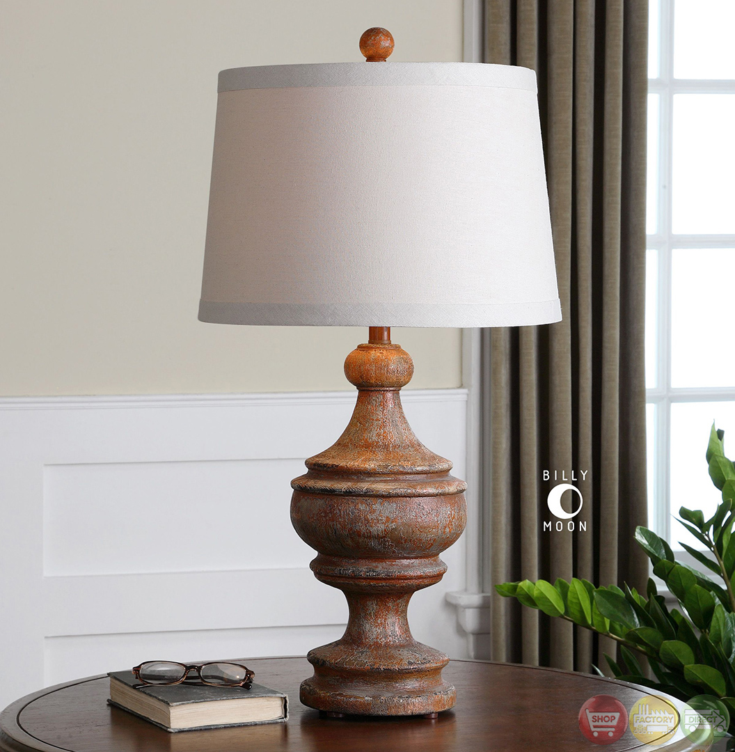 Real Wood Lamps Via Lata Burnt Orange Solid Wood Base Table Lamp 27742