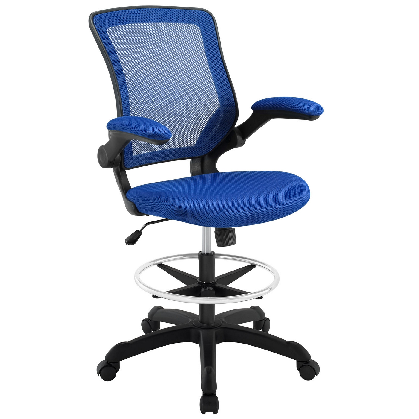 Blue Office Chair Veer Modern Ergonomic Mesh Back Upholstered Office Chair Blue