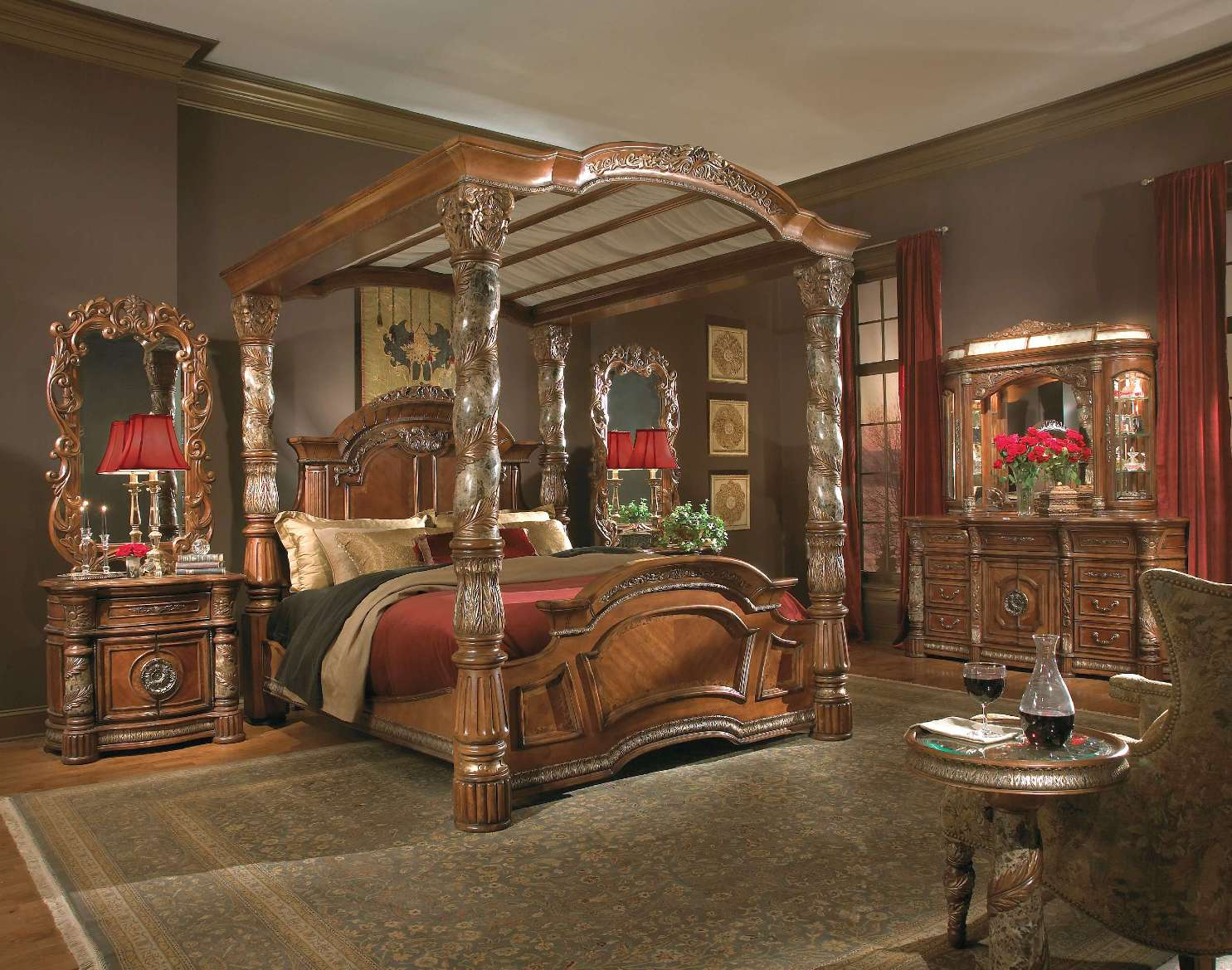 High Poster Bed King Michael Amini Villa Valencia Traditional Luxury Poster