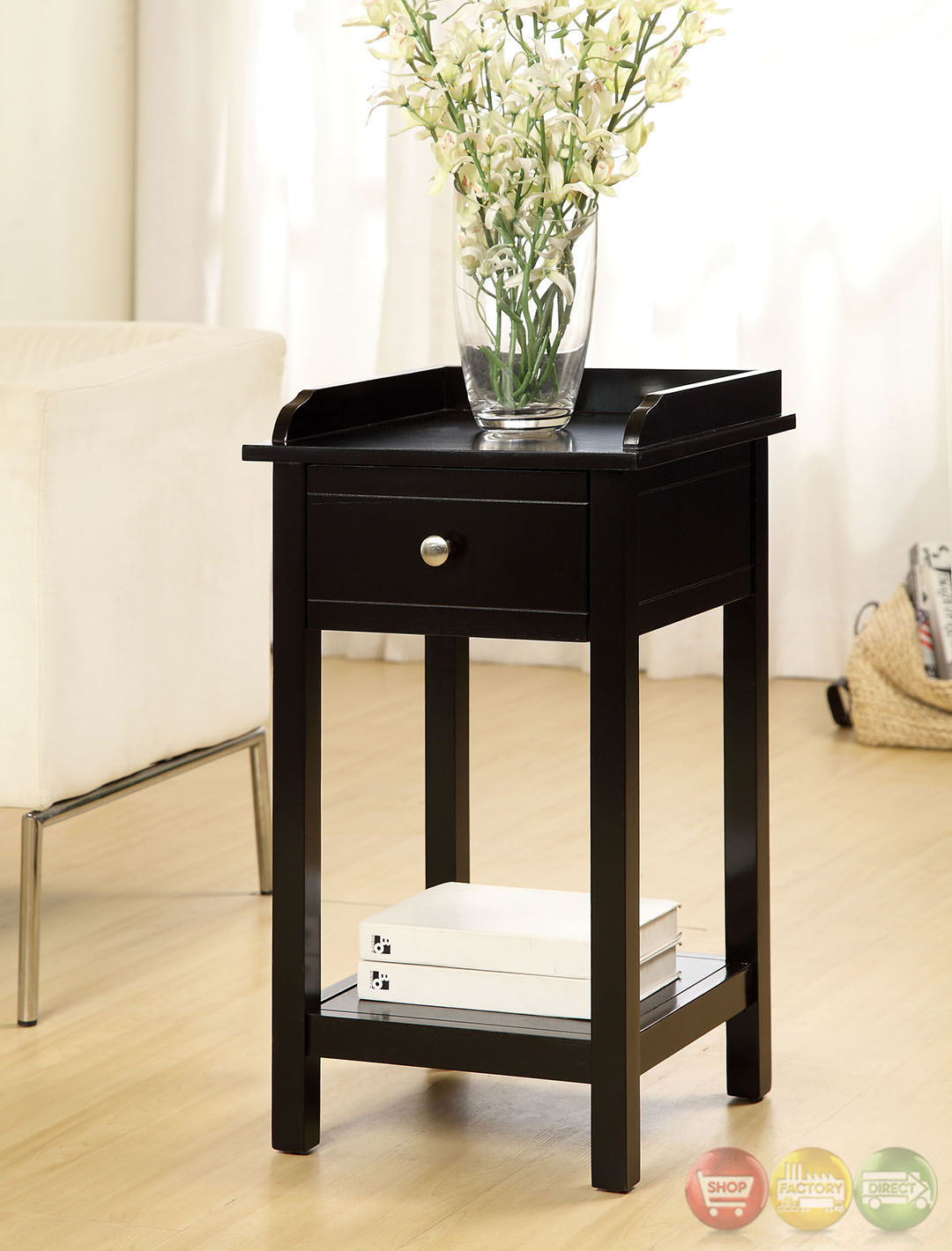 Black Modern Side Table Voula Contemporary Black Accent Table With Drawer