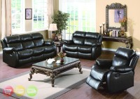 Weston Contemporary Genuine Black Leather Motion Living ...