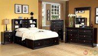 Yorkville Espresso Bookcase Storage Platform Bedroom Set