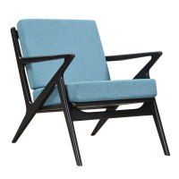 Zain Mid Century Modern Blue Fabric Chair With Wooden ...