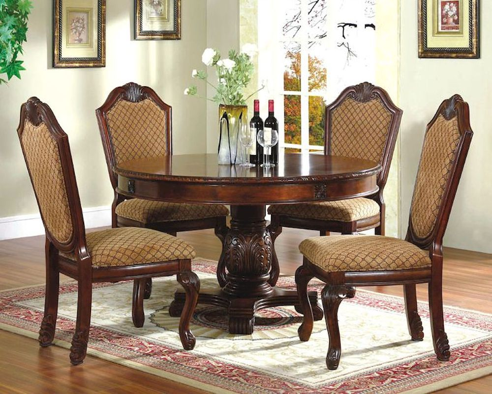 *5pc Dining Room Set with Round Table in Classic Cherry