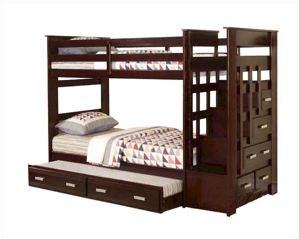 Twin Loft Bed Acme Furniture Twin Over Twin Bunk Bed In Espresso Ac10170