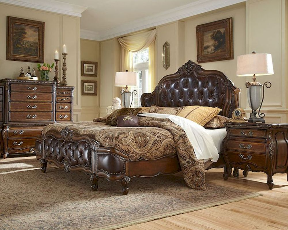 Traditional Bedroom Aico Bedroom Set W/ Upholstered Headboard Lavelle Melange