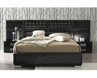 Contemporary 3PC Bedroom Set in Black Leather Glossy ...