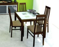 Expandable Dining Set Paloma w/ Frosted Glass Top Table