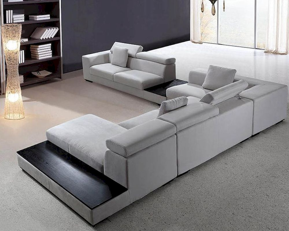 Modern Sofa Grey Microfiber Contemporary Sectional Sofa Set 44l0615